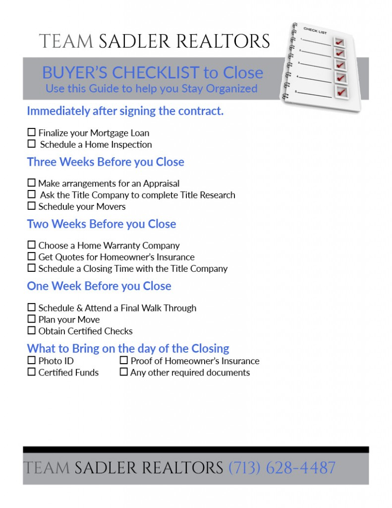Click Here to Print Contract to Close Checklist